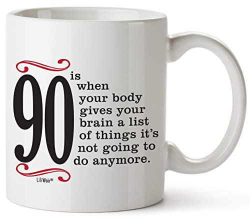 90th Birthday Gifts For Women Ninety Years Old Men Gift Mugs Happy Funny 90 Mens Womens Womans Wifes Female Man Best Friend 1930 Mug Male Unique Ideas 30 Woman Wife Gag Dad Girls Guys Good Husband