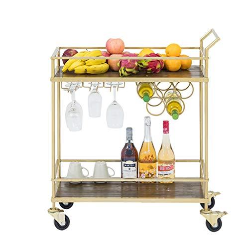 PLHMS Metall Servierwagen, Modern Style Lagerschrank Trolley, Küche Bar Esszimmer Tee Regal, mit Weinglas Rack und Wein-Flaschen-Halter