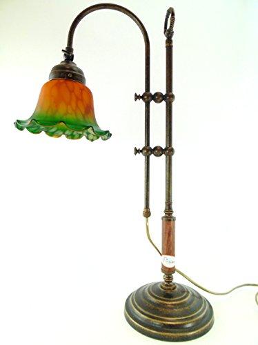 Lampe Messing brüniert mit Holzgriff Tisch,Schreibtisch, Kommode im Jugendstil mit satiniertem Glas...