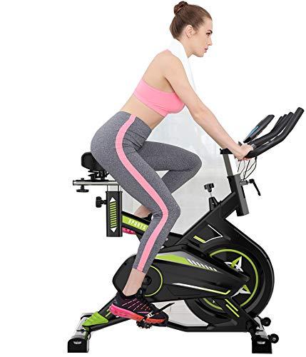 Estacionaria la bicicleta estática cubierta de gimnasio en casa Cardio entrenamiento del entrenamiento de la máquina, cómodo cojín del asiento, Cardio Bicicleta con Multi - puños del manillar,Verde