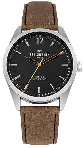 Ben Sherman Herren Datum klassisch Quarz Uhr mit Leder Armband WB019BT