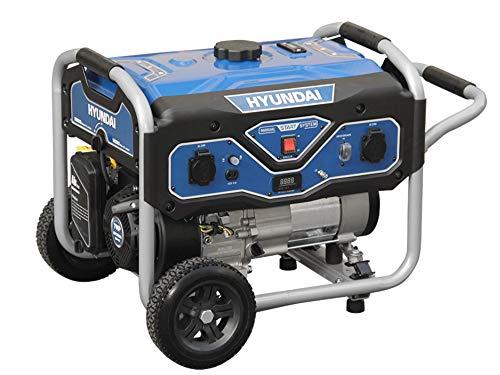 HYUNDAI Benzin Generator BG55051, Stromerzeuger mit 7PS Motor und 3.0kW max. Leistung, Handstart, Notstromaggregat für Baustellen mit 2 x 230V Anschlüssen, Stromgenerator, Stromaggregat
