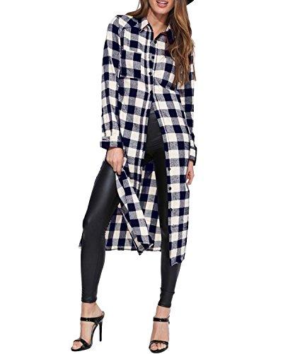 Style Dome Camicia Donna Quadri Bluse Manica Lunga Casual Elegante Maglieria Moda Collo V Maglietta Autunno Shirt Top Blu S