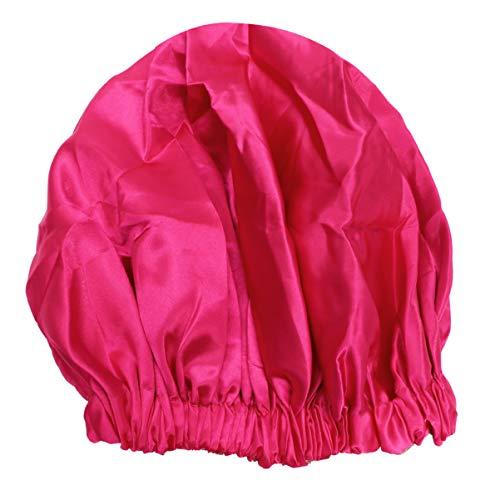 Lurrose Bonnets de Cheveux en Satin Bonnet Sommeil Bonnet de Nuit Soyeux Réglable à Double Couche avec Cordon de Serrage pour Femme Salon de Maison Spa Dormir (Rose)