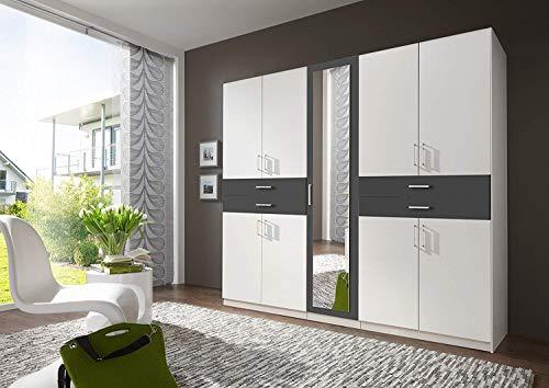 Wimex Kleiderschrank/ Drehtürenschrank Taiga, (B/H/T) 225 x 210 x 58 cm, Weiß/ Absetzung Schwarz