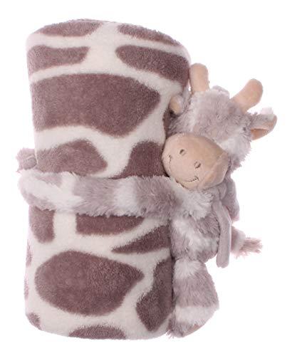 Manta suave para bebé con animales de peluche en diferentes variantes, manta infantil, manta de lana (marrón vaca)
