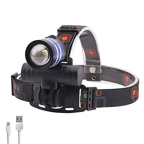 Linterna LED frontal con 3 modos de zoom, alta potencia, 2000 lm, T6, luz recargable