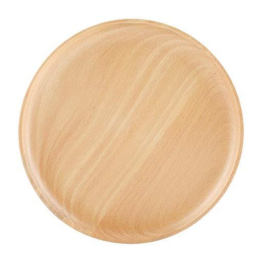 Natürliche Buchenholzplatte rund Obst Snack Süßigkeiten Dessert Kuchen Teller Massivholz Tee Kaffee Serviertablett Lebensmittel Vorratsplatte Teller für Zuhause Küche Cafe Shop Restaurant