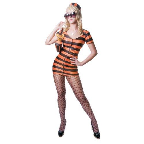 Dress Up America Ensemble de Costume de Prisonnier Rayé Orange Sexy Adulte