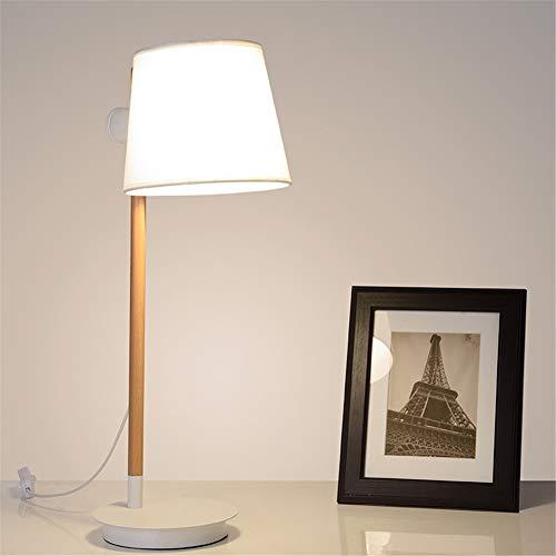 Lámpara de escritorio E27 Estudio ligero Estudio Sombra 360 ° Diseño giratorio y de elevación Moderno Tela simple Madera sólida Hierro forjado Lámpara de mesa blanca para sala de estar Dormitorio