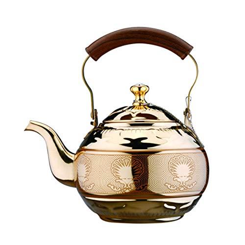 Hervidor de té, hervidor de agua de acero inoxidable de grado alimenticio de 2 litros con mango resistente al calor, tetera para estufas de gas, cocinas de inducción, estufas eléctricas de cerámica