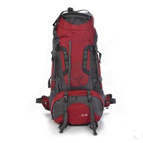 Sac à Dos D'alpinisme De Loisirs Extérieurs Camping De Randonnée Et Sac à Dos De Randonnée Grande Capacité 56-75L Sac à Dos D'aventure De Sports Imperméable Et Durable,Red