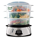 Russell Hobbs Steamer 10.5L, Digital, Programmable, Cooking Vegetables, Rice, Eggs, Dishwasher Compatible - 23560-56 Maxicook