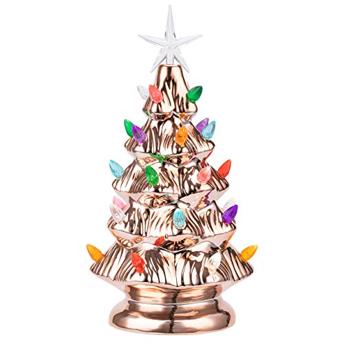 Sunnyglade 11' Ceramic Christmas Tree Tabletop Christmas Tree Lights with 28 Multicolored Lights and 1 Star Toppers for Table Top Desk Classic Series Christmas Decoration (Green) (Rose Gold)