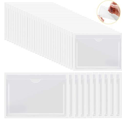 Fundas autoadhesivas para tarjetas de índice, 30 4.72 x 3.54 pulgadas y 10 6.5 x 5 pulgadas, utilizadas para almacenar catálogos organizacionales y evitar la pérdida de tarjetas insertadas en blanco ✅