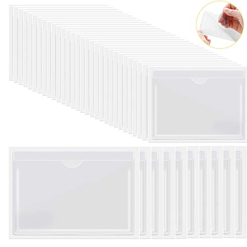 Zelfklevende indexkaartvakken 30 stuks 4,72 x 3,54 inch & 10 stuks 6,5 x 5 inch, lege invoegen kaarten voor opslag organiseren catalogi en verlies preventie