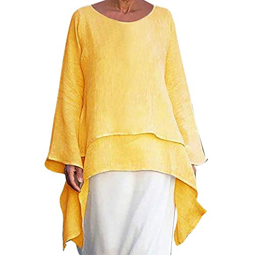 Damen T-Shirt Damen Oberteile Blusen Shirt Mädchen Polo Streetwear Sweatshirts Blusen Tuniken Kleider Westen Kostüm, große Größe Unregelmäßige lose Leinen Kurzarm Vintage Bluse
