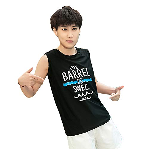 MISWSU Super Flat Lesbian Tomboy Compression Chest Binder Swimsuit Shirt Trans Vest Top (Black,L)
