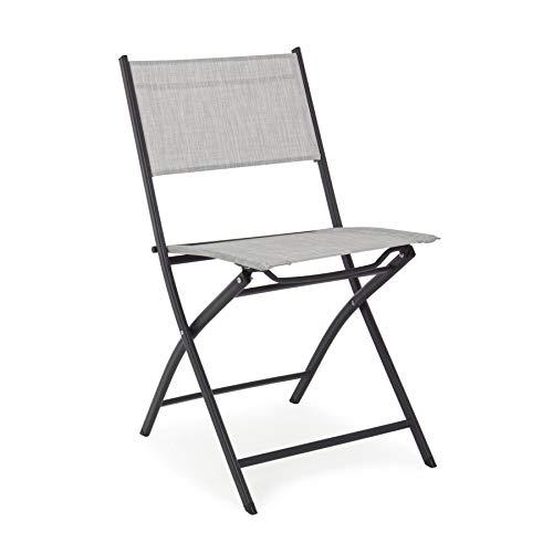 ARREDinITALY Lot de 4 chaises Pliantes pour extérieur en métal et textilène Gris Clair