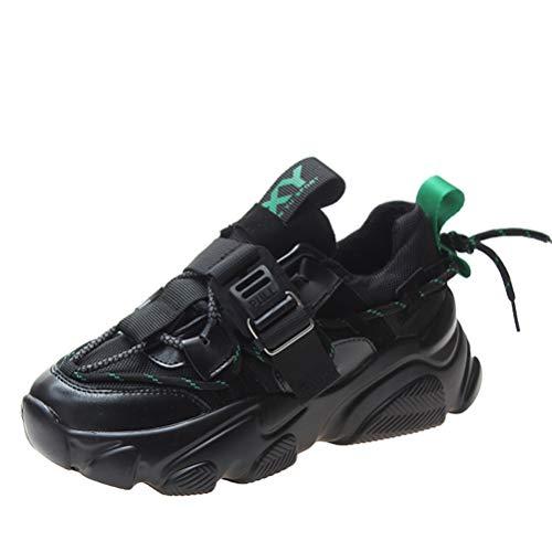 Zapatillas de Deporte con tacón de cuña para Mujer Zapatillas Deportivas de Primavera y otoño Zapatillas Deportivas con Cordones Transpirables con Cordones