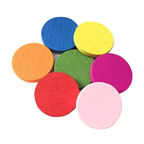 STOBOK Wooden Counting Piece Colorful Circles Chips Bingo Chips Learning Teaching Toy for Kid Child (Mixed Color) - 500pcs