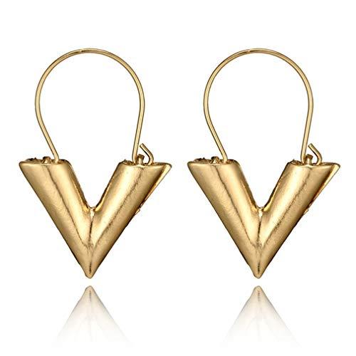 GMN Pendientes Letra V de Moda Personalizados Moda Letra de Metal Simple Forma V Oro