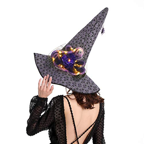 Halloween Witches Hat,Wizard Cap Costume Accessories for woman and girls 1pc Purple