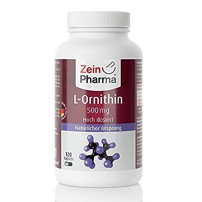 ZeinPharma L-Ornithin 500mg • 120 Capsules (5-weeks-supply) • gluten-free, vegan, kosher & halal • Made in Germany