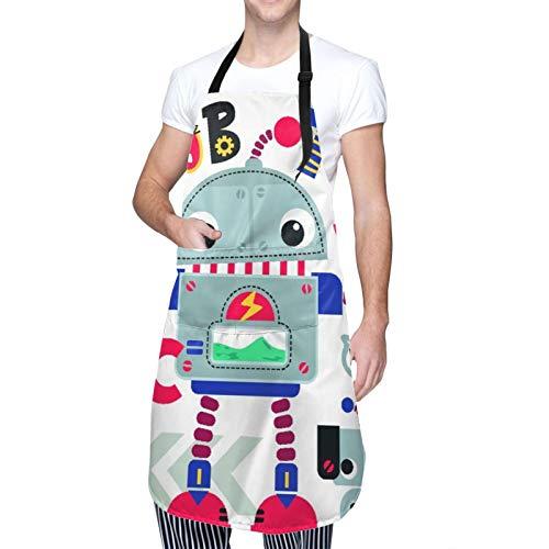 NOLOVVHA Ajustable Colgante de Cuello Personalizado Delantal Impermeable,Robot de dibujos animados lindo saludando con amigo perro robótico aislado,Babero de Cocina Vestido con 2 Bolsillos