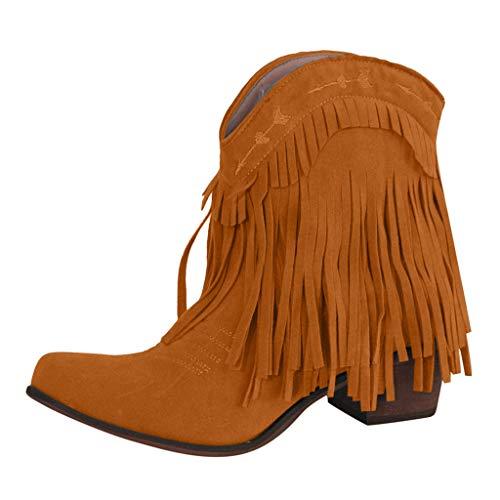WHSHINE Vintage Country Damenstiefel - Low Top Quasten Wide Calf Ankle Cowboy Stiefel mit Blockabsatz
