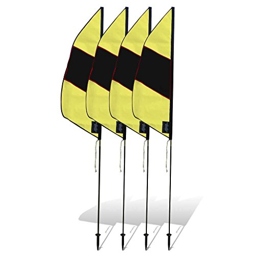 Premier RC 3.5 ft. Boundary FPV Racing Air Flags with 6 ft. Poles (Set of 4) - Yellow/Black