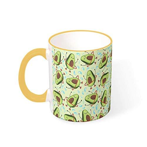 O3XEQ-8 11 Unze Avocado Getränke Kaffee Becher mit Griff Keramik Personalized Tassen - Cute Mädchen, Anzug für Restaurant verwenden Goldenrod 330ml