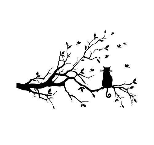 Chat Eachant Sur Une Branche et Chien 3D Mignon Fenêtre Art Autocollant Amovible Bricolage Vinyle...