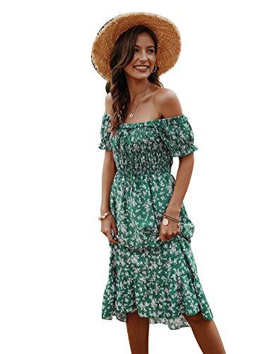 Women's Summer Floral Printed Off Shoulder Ruffle Midi Dress (Green,S)
