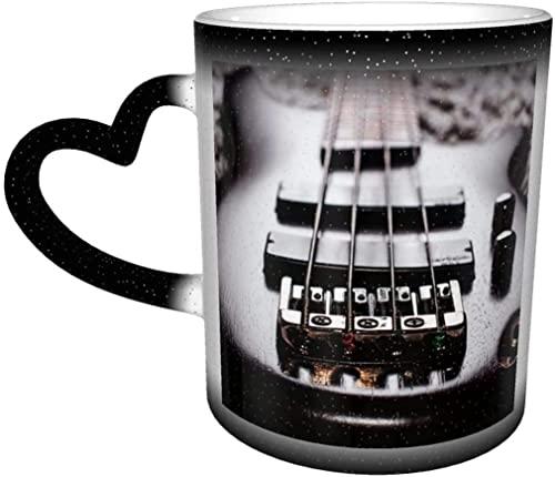 KEROTA Taza de café bajo guitarra eléctrica música vintage área mágica sensible al calor color cambiante taza en el cielo taza de cerámica taza de café regalo de cumpleaños de Navidad