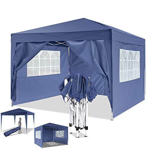 Eloklem Carpa con Paredes | Plegable, Impermeable, con Protección Solar, Ideal para Fiestas en el Jardín | Gazebo, Cenador, Pabellón, Tienda Fiestas (3x3 m, Azul)