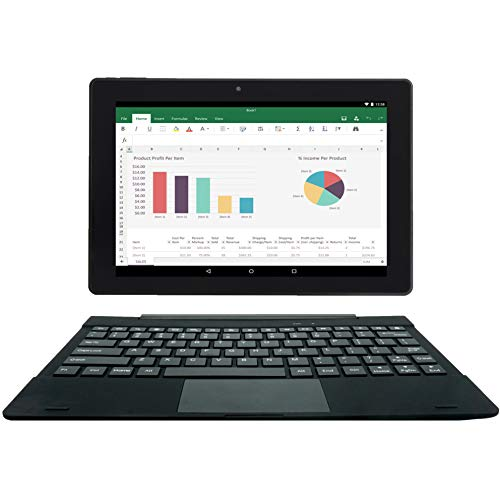 {2 Bonus Item} Simbans TangoTab 10 Inch Tablet + Keyboard 2-in-1 Laptop | 2 GB RAM, 32 GB Disk, Android 9 Pie | Mini-HDMI, Micro-USB, USB-A, Inbuilt GPS, Dual WiFi, Bluetooth Computer PC
