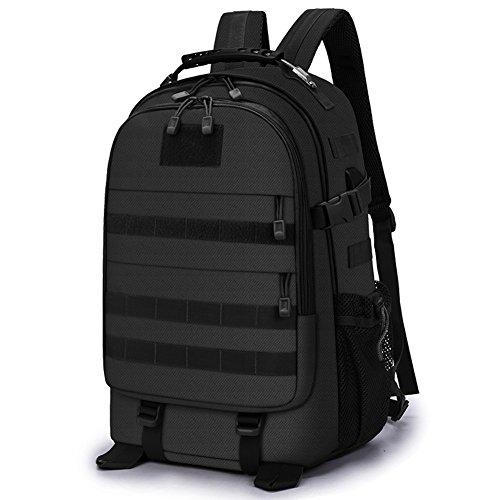 Selighting 35L Sac à Dos Tactique Militaire Sacs Molle Homme Imperméble avec Port de Chargement USB pour Voyage Camping Trekking Randonnée (Noir)