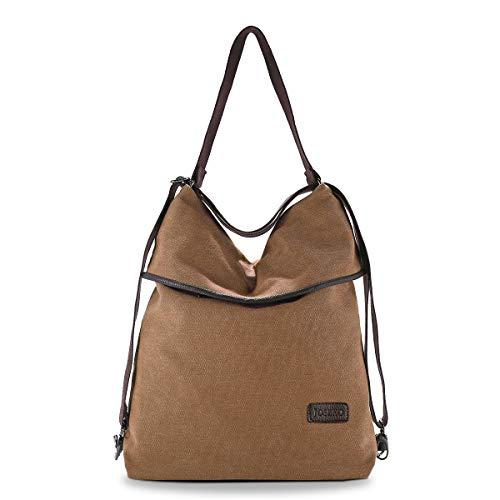 JOSEKO Canvas Tasche Segeltuch Vintage Rucksäcke Damen Schultertasche Handtasche Multifunktionsbeutel für Reise Outdoor Schule Einkauf Alltag Büro (Khaki)