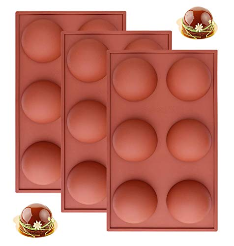 Large 6 Holes Semi Sphere Silicone Mold, Baking Mold for Making Chocolate, Cake, Jelly, Dome Mousse (3 PACKS)