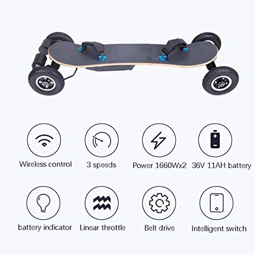 40Km/H Off Road Electric Skateboard, 1650W Motorized Mountain Longboard with Dual Motors, 8 Layers, All-Terrain, Remote Controlled (11Ah Battery)