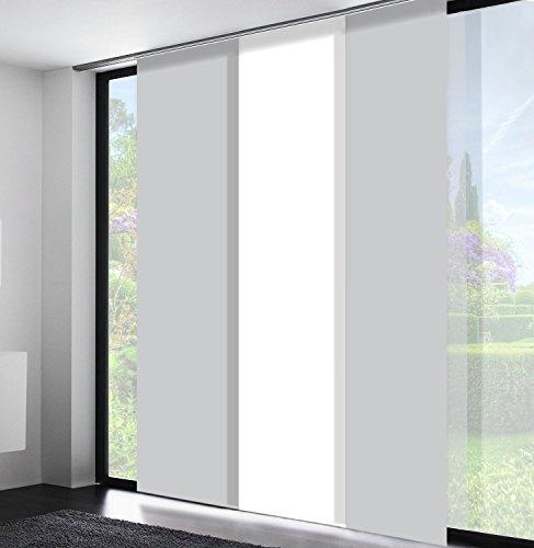 Sun World Schiebegardinen nach Maß, hochqualitative Wertarbeit, Maßanfertigung, Flächenvorhang, alle Größen, Schiebevorhang, Raumteiler, Blickdicht (100cm Höhe x 50cm Breite/Light Grey)