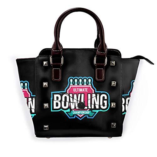 Break The Rules Damen Handtasche Hobos Leder Nieten Schultertasche Große Tote Bag für Arbeit, Pink - Bowling-Logo. - Größe: Einheitsgröße