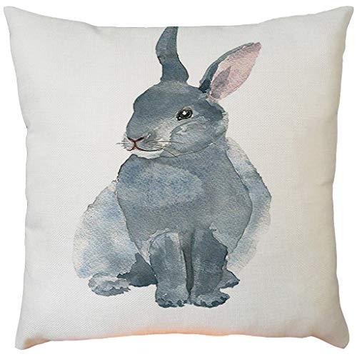 Moent Funda de almohada de Pascua, cuadrada, de algodón y lino, para sofá, cama, cafetería, coche, decoración del hogar, diseño de conejo, regalo de festival (D-1 unidad)