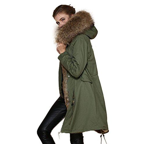 Damen Parka XXL Kragen aus 100% ECHTPELZ ECHT Fell Jacke Mantel Khaki 8 Farben (L / 38, Natur Pelz)