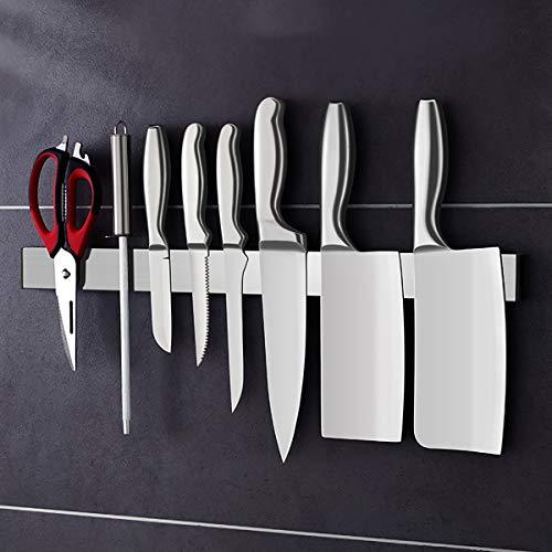 Cuchillo Magnético 19.6 Pulgadas Inoxidable Acero Prima Cocina Cuchillas Bar Elegante Y Multifuncional Imán Poseedor por Pared con Fácil Instalación,M