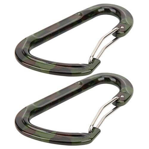 DAUERHAFT Backpack Key Kettle Buckle Carabiner Keychain Clip Carabiner D‑Shaped Portable 2Pcs Durable for Hammock Straps(ArmyGreen)