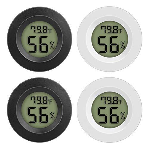 ACAMPTAR 4PCS TermóMetro HigróMetro Digital HigróMetro Celsius TermóMetro Interior con Pantalla LCD para el Hogar (Blanco y Negro)
