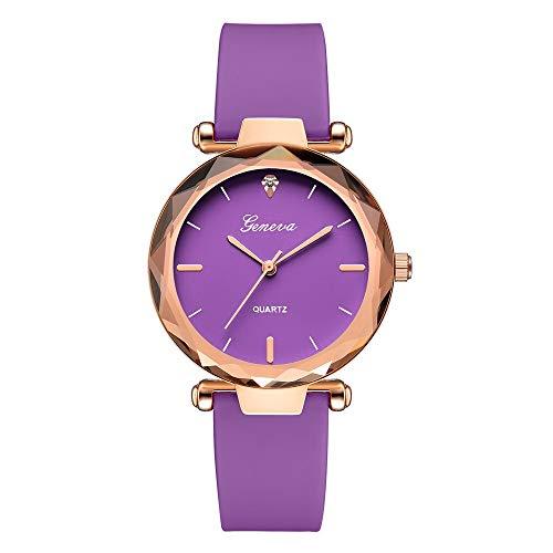 JZDH Relojes para Mujer Relojes Populares de Las Mujeres Reloj de Cuarzo de Diamante de Cuero para niña Moda Casual Damas Reloj Vestido decoración Relojes Decorativos Casuales para Niñas Damas