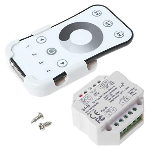 WE-WHLL Atenuador triac RF inalámbrico de CA Kit de Control Remoto de 2,4G, Interruptor de Empuje Regulable para lámpara LED